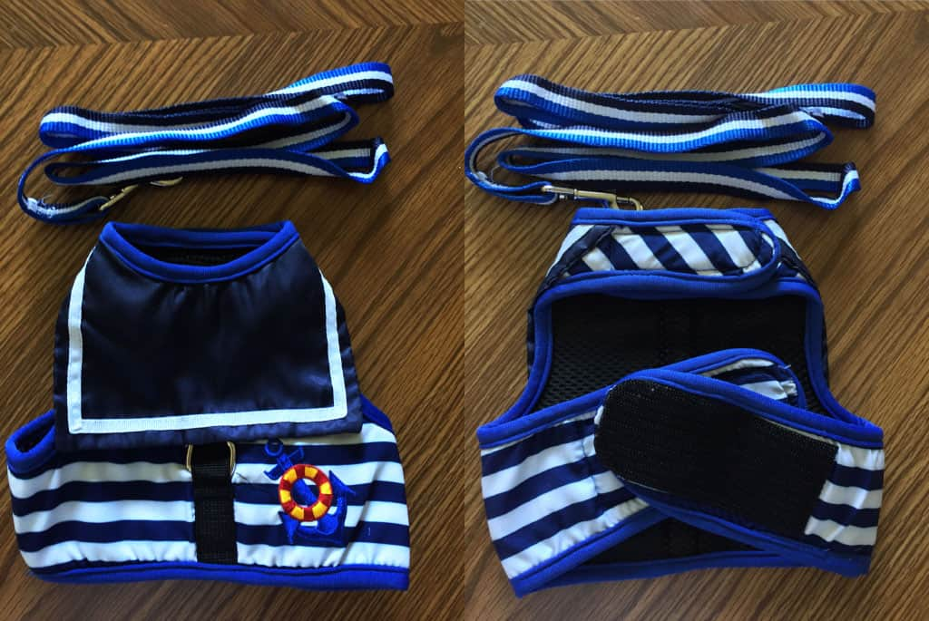 A side by side photo of the Yitzi-Miaow cat harness. It is a vest style of harness, with a sailor outfit design (blue and black with white stripes). The left side shows the front of the vest, while right shows the back. Both front and back images show the blue and white leash above it.