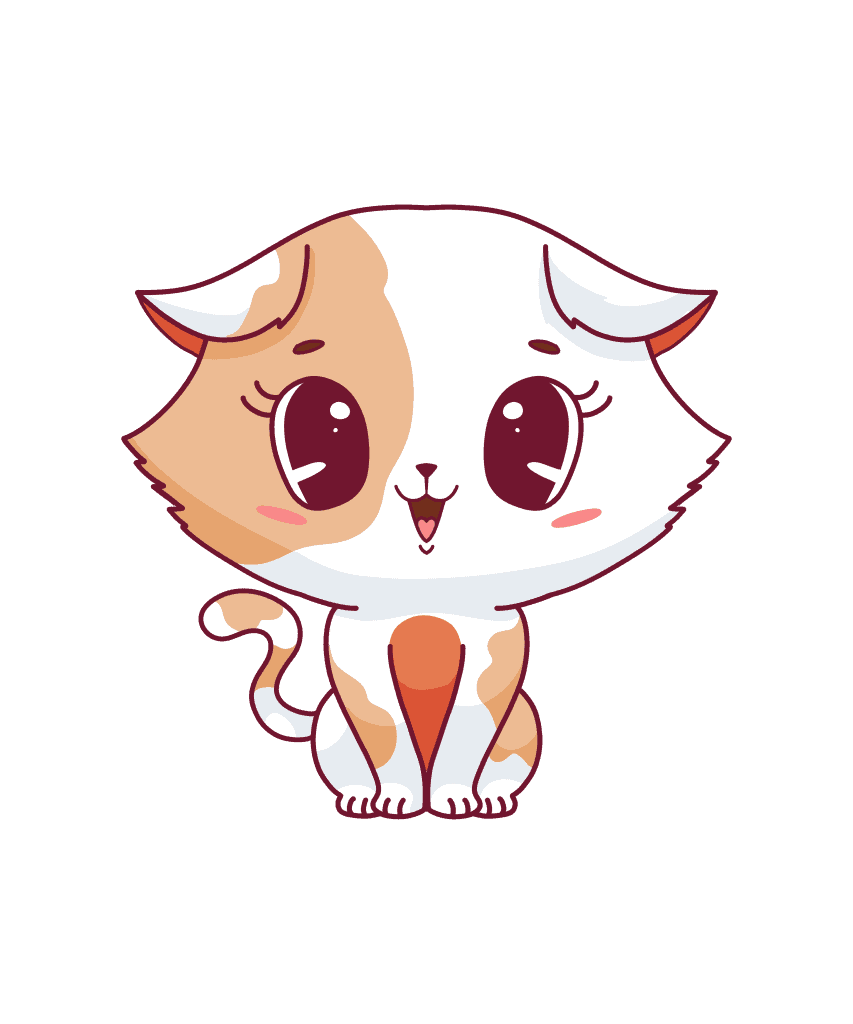 A cute illustration of a white and brown cat character that is sitting down looking happy.